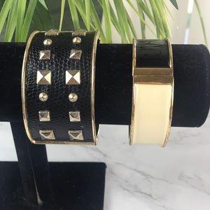 Black Snake Skin/Gold Bangle Bracelet Bundle